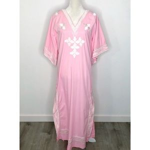 Vintage Filipino Pink Embroidered Gown Size Small